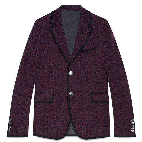 Gucci Horsebit jacquard jersey jacket ($1,660) ❤ liked on Polyvore featuring men's fashion, men's clothing, men's outerwear, men's jackets, blue, gucci mens jacket, mens blue jacket and mens leopard print jacket