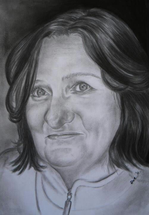 Mary. Charcoal on 300gsm paper,, 420x594mm, Drawn by Susan Brett.