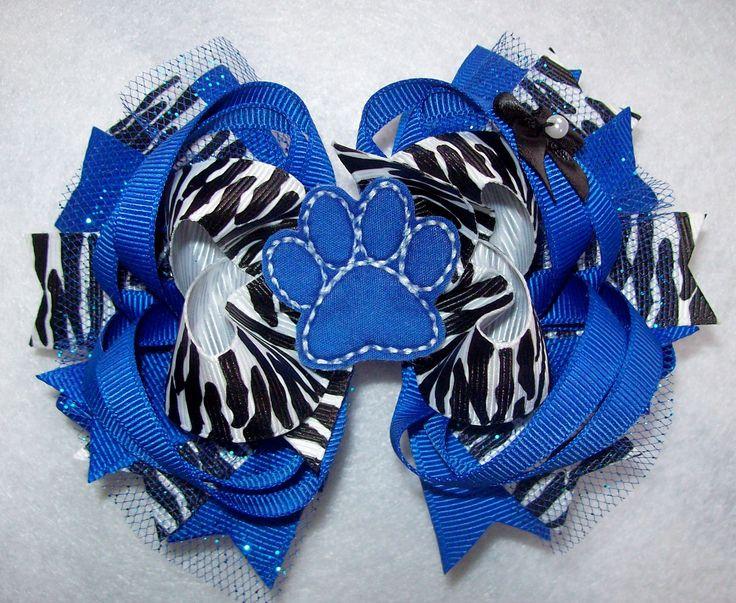 Uk Kentucky Wildcats Royal Blue Zebra Hair Bow Infant