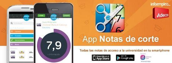 Lanzamos la primera aplicación móvil para consultar notas de corte universitarias #selectividad #universidad #formación  ;)