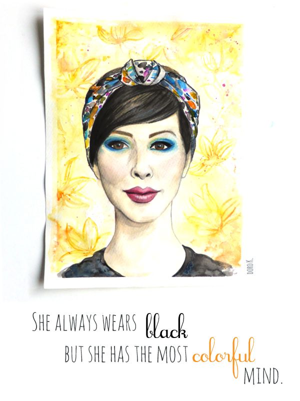 """she always wears black..."" #quote #illustration"