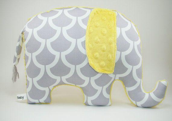 Modern gray and yellow nursery decor, Elephant Pillow, grey and yellow on Etsy, $33.00