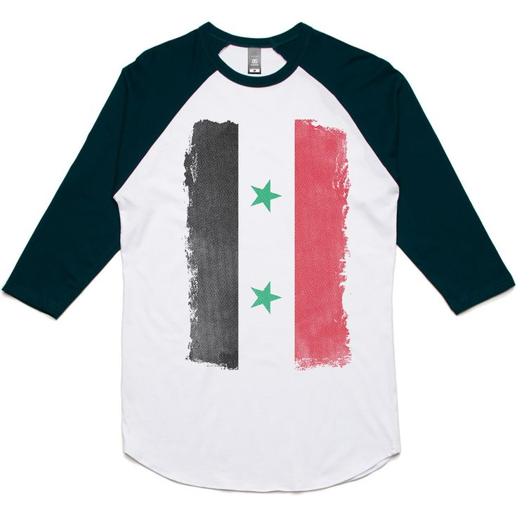 theIndie Weathered Flag of Syria 3/4-Sleeve Raglan Baseball T-Shirt