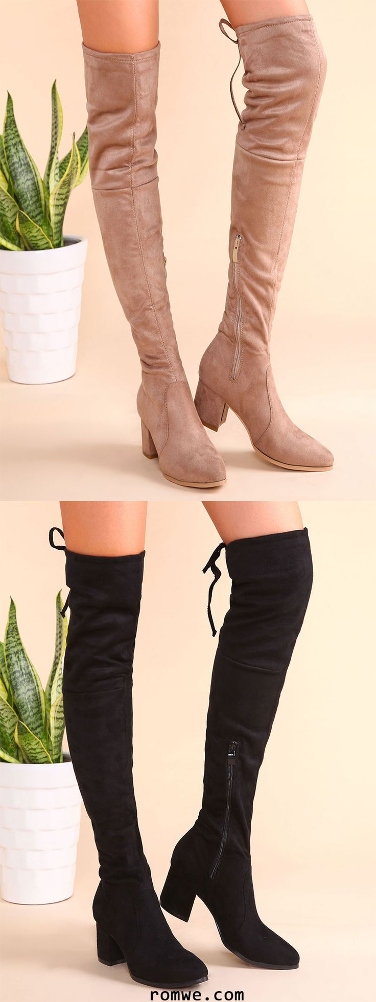 Point Toe Tie Back Side Zipper Thigh High Suede Boots