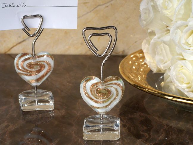 murano art deco collection heart place card holder in blue name card holders for tables