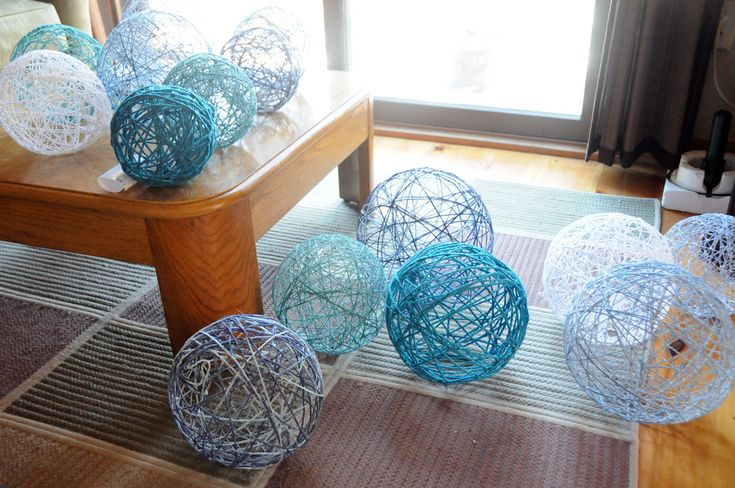 Yarn lanterns.  I want to make these!