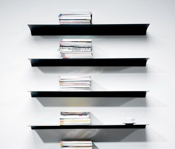 Nonuform's wall-mounted shelves Exilis and Exilis Slope are delicate and discreet. The two hidden brackets give the impression that the shelf is floating. The shelves are available in several differ…