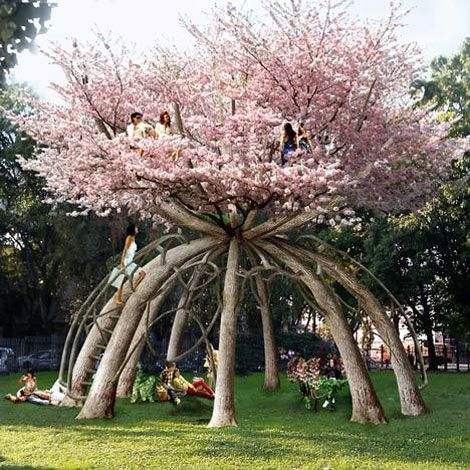 "Behold the ultimate tree house!  What: ""The Patient Gardener"" project using ten Japanese cherry trees  Where: School campus in Milan, Italy  Who: Designed by Swedish architects Visiondivision  Why: A two-story ""treehouse"" study retreat for students.  The vision: a green environmental project where construction works with the timeframe nature sets.  The trees are bent and pruned into shape.  When: In other words, the project will"