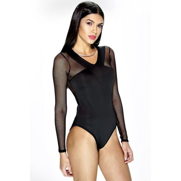 Boohoo Night Tia Fish Net Sleeve Scuba Bodysuit ($24) ❤ liked on Polyvore featuring intimates, shapewear and black