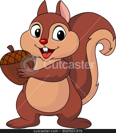Squirrel cartoon with nut stock vector clipart, Vector illustration of Squirrel cartoon with nut by Teguh Mujiono