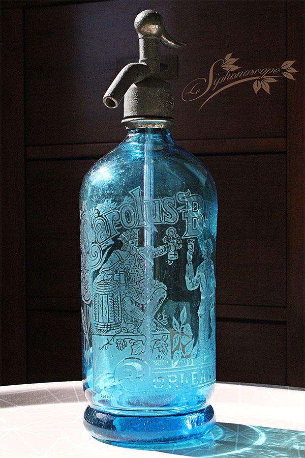 Ancien siphon bleu Carolus Brouard - Maison Torlet, Orléans