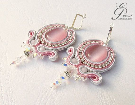 Rose cateye soutache earrings with swarovski crystal by EditBeadIt