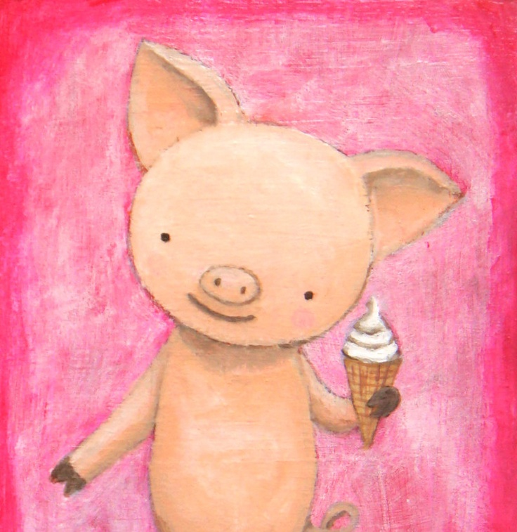 Original Illustration Painting on Wood Cute Pig with Ice Cream (Pink & Purple) by MiKa Art $34.99, via Etsy.