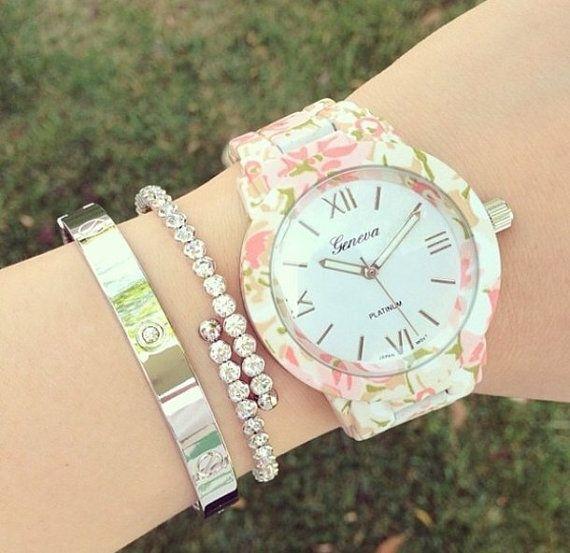 Rose Flower Girl Watch, Flower design Gold watch,fancy womans watch,wrist watch,floral pattern,gold watch,gold plated watch,armbanduhr