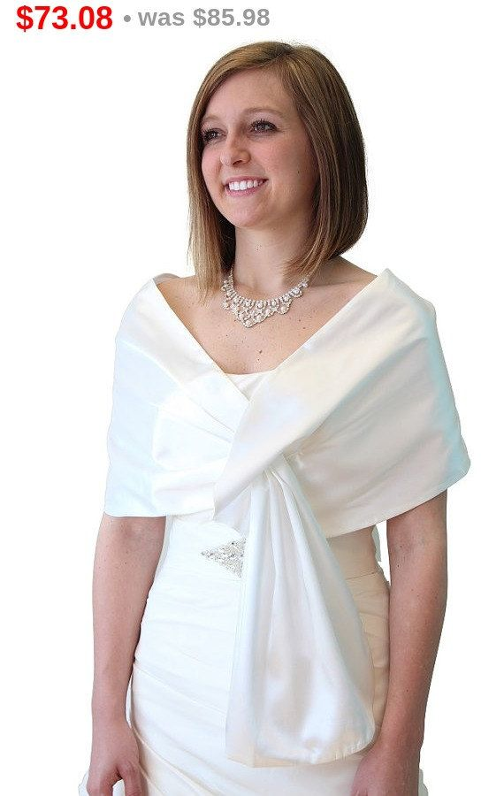ivory bridal shrug, wedding shawl, satin evening shawl