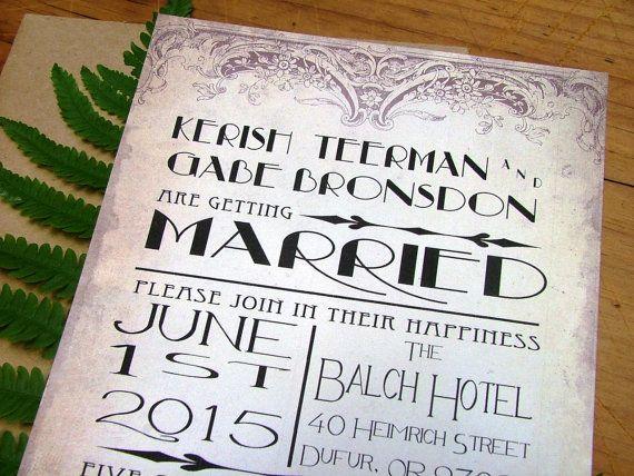 Art Deco wedding invitations stunning aged by sweetinvitationco, $100.00