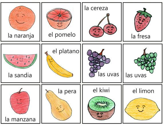 Cute fruit pictures- help kids learn Spanish!  Fruit Drawings with Spanish Name PDF- Dibujo de Fruta