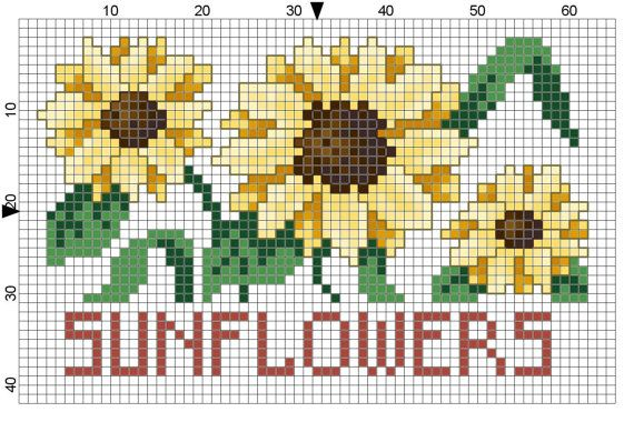 Sunflowers Tea Towel Counted Cross Stitch Pattern