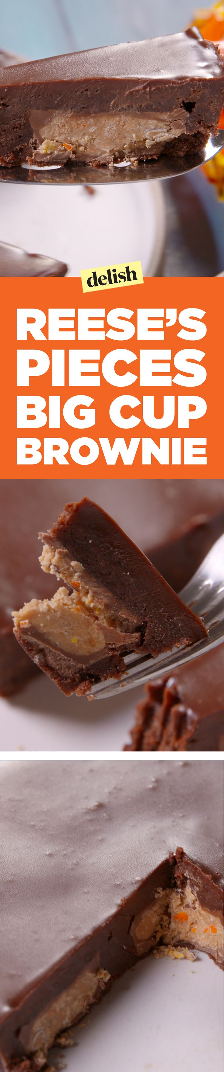 Reese's pieces big cup brownie is the treat your squad deserves. Get the recipe on Delish.com.