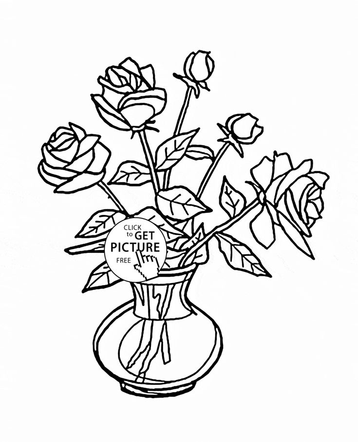 Bouquet of Roses in Vase coloring page for kids, flower ...