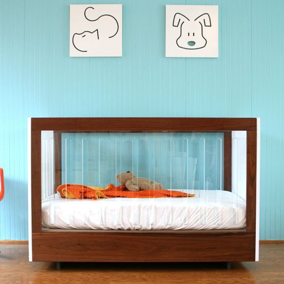 100% recyclable, eco-friendly crib with acrylic sides - so contemporary!