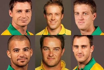 Proteas Dale Steyn, AB de Villiers, Morné Morkel, JP Duminy, Mark  Boucher, Faf du Plessis