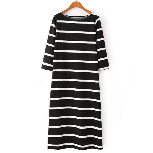 Casual Style Jewel Neck Color Block Stripe 3/4 Sleeve Dress For Women