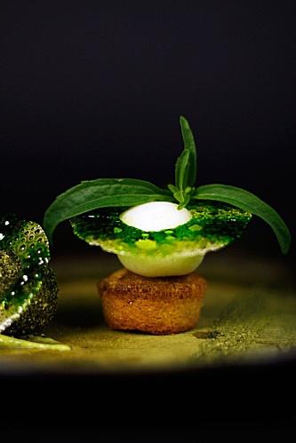 Rasgulla à la rose – sablé à la cardamome verte  Crème d'avocat vanille – coriandre