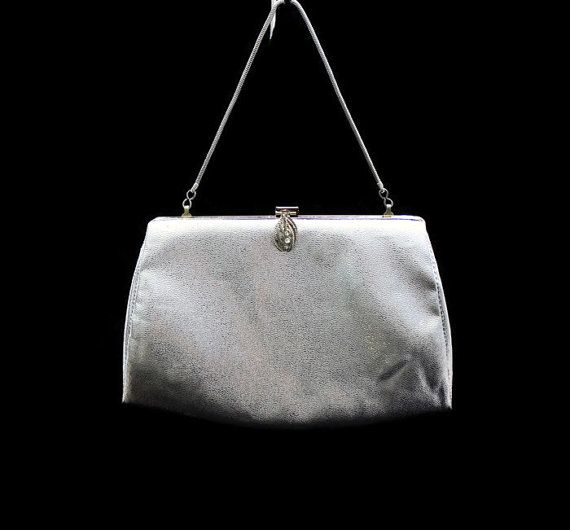Vintage Silver Handbag Silver Clutch  by HeidisTreasureChest