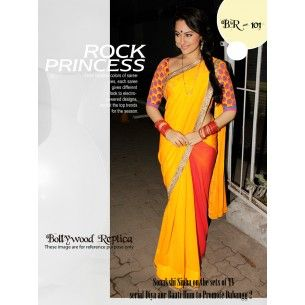 #Designer Suit #Bollywood Replica Saree Shop now : http://www.valehri.com/sonakshi-sinha-dabangg-2-replica-saree-with-blouse-1573