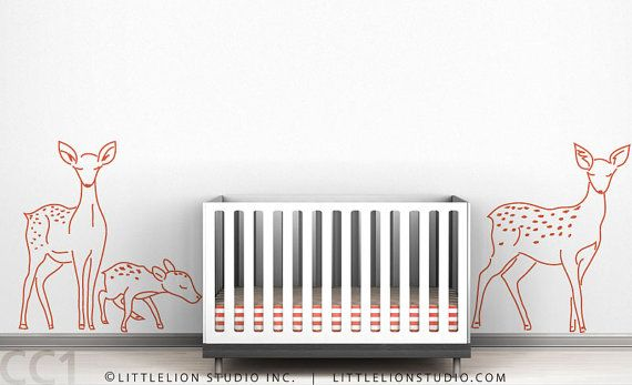 Kids wall decal deer family sillhouette outline by LeoLittleLion, $65.00