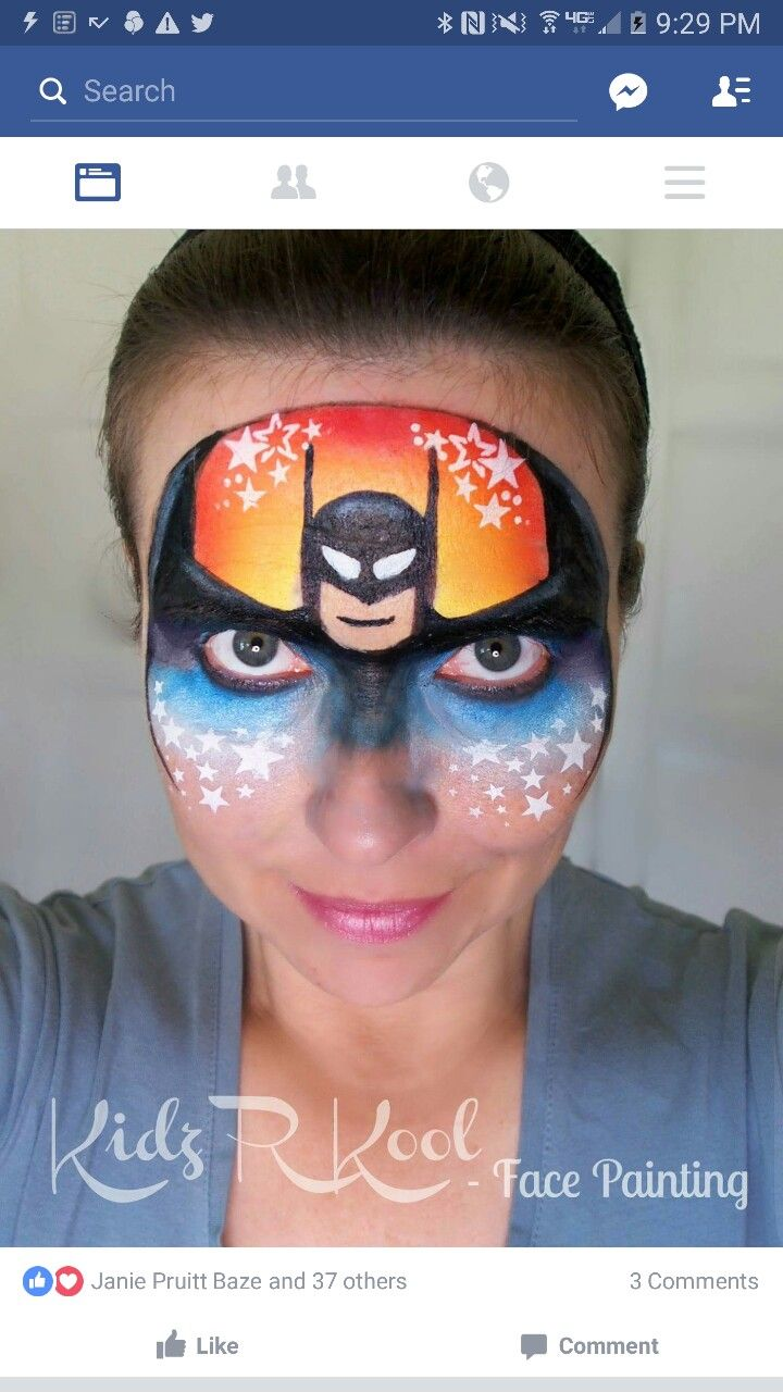 Funny face painting for kids creative art and craft ideas - Batman Mask Kids R Kool Facepainting