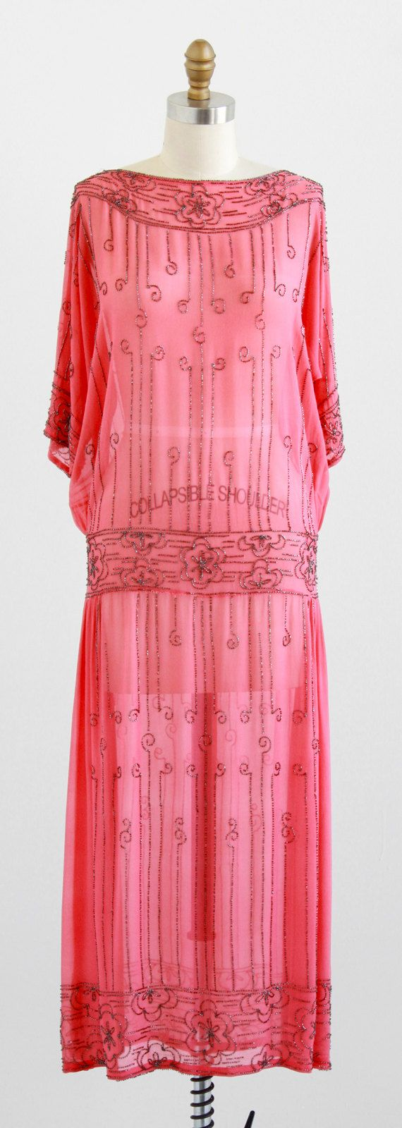 vintage 1920s pink silk chiffon dress with marcasite beads |