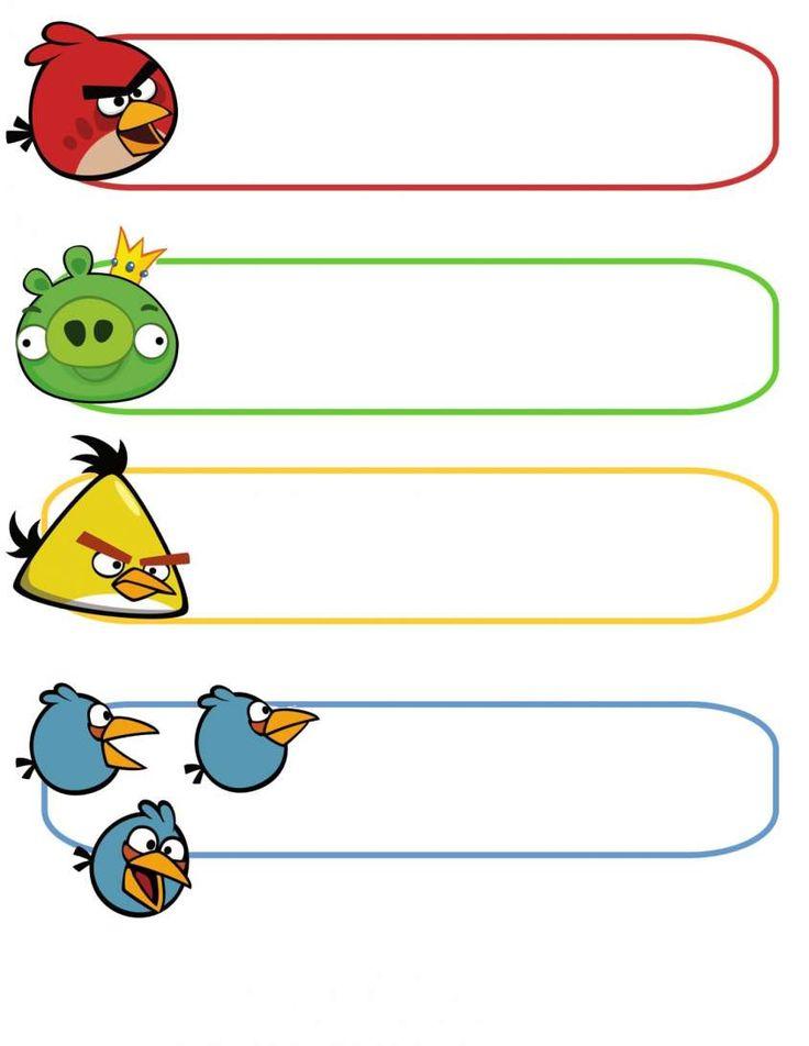Etiquetas libros escolares: fotos modelos para imprimir - Etiquetas Angry Birds