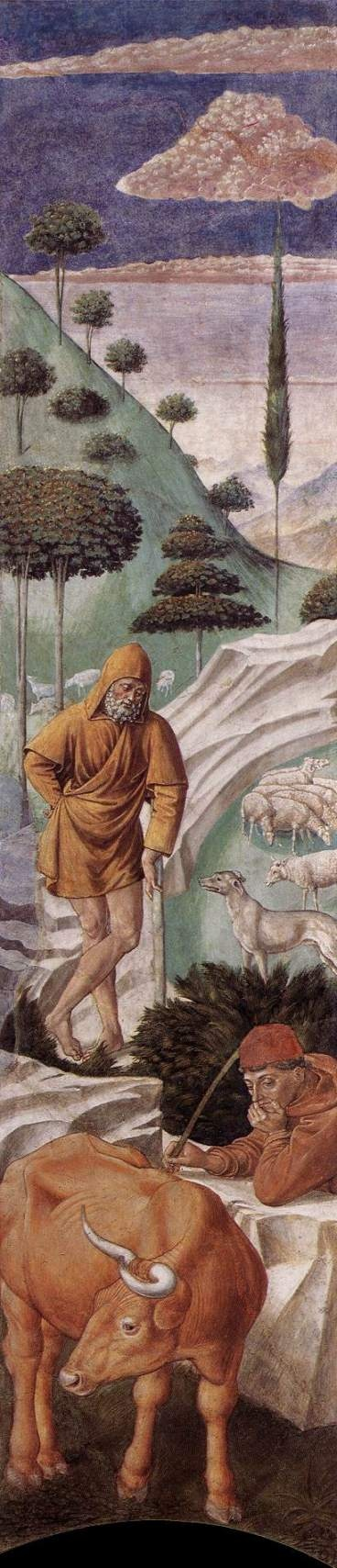 Vigil of the Shepherds, 1459-61, by Benozzo Gozzoli (1421–1497). Fresco in the Palazzo Medici-Riccardi, Florence, Italy