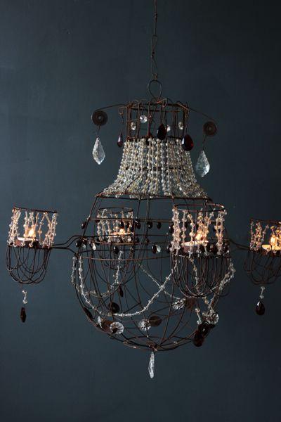 Miss Havisham Wirework and Beaded Tea Light Chandelier