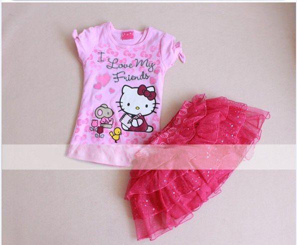 Девочка хлопок комикс hello kitty футболки + юбка костюм девочки лето одежда 5 комплект / много