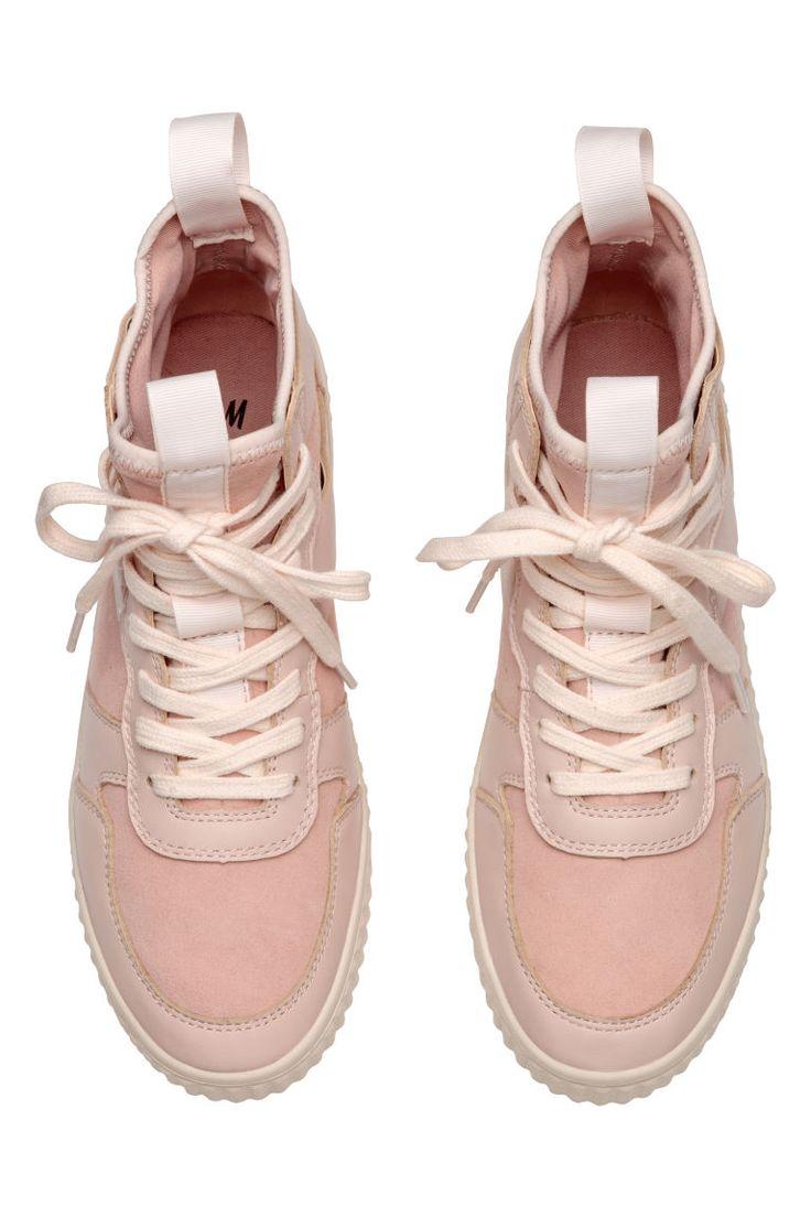 Sneakers i skinn og semsket - Pudderrosa - DAME   H&M NO 2