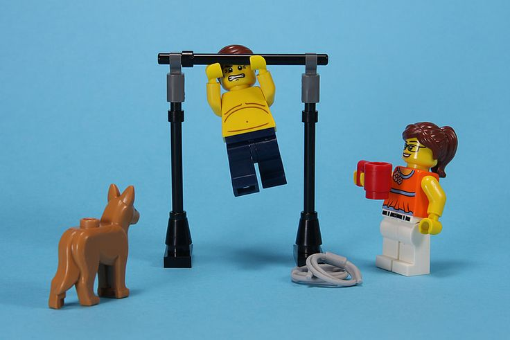 Time for Change: Having recently been shamed by his lack of physical fitness, Lego Dan has decided to engage in a more rigorous training regime. So out comes the trusty pull up bar, much to the amusement of everyone else.