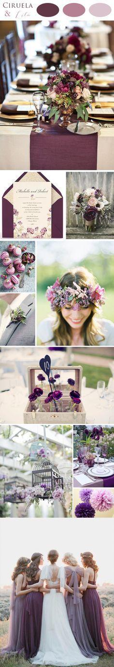 Bodas en colores ciruela y lila: una combinación de colores muy elegante que quedará ideal en bodas de estilo romántico y en bodas campestres.