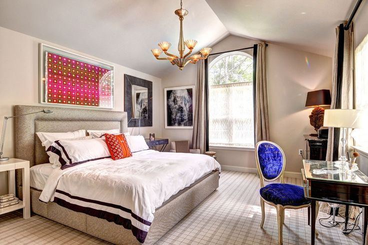 Eclectic Master Bedroom with Zinus Upholstered Detailed Platform Bed with Headboard and Wooden Slats, Chandelier, Carpet