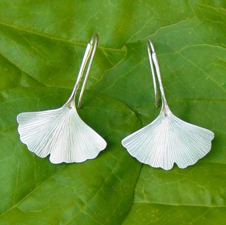 Ginkgo Leaf Earrings in Sterling Silver, Fall Fashion, Under 50, Nature Inspired Jewelry via Etsy.