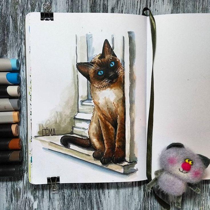 """А я опять опоздун когда то у меня был такой сиамский котик - Сёма, очень его любила в детстве #крыльялапыихвосты #рисуйкаждыйдень #ярисую #скетчбук #скетчинг #спиртовыемаркеры #leuchtturm1917 #markers #art_markers #sketch #sketchbook #art #sketching #sketchart #illustration #illustrator #illustrationart #cats #summer #cat #artist так же учавствую к конкурсе """"Мартовский кот"""" от @peredvizhnik @n_a_l_i_v_k_a @art_pavlova #кот_на_конкурс"""