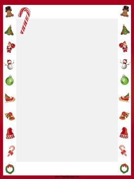 This free, printable, winter holiday border features candy canes, sleds, Christmas trees, ornaments and festive wreaths. Free to download and print.