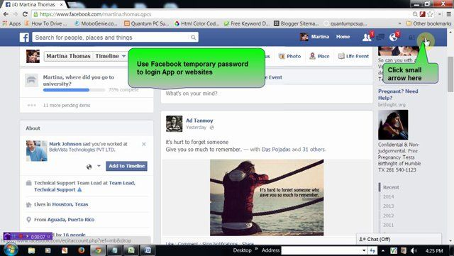 FACEBOOK random password: Use temporary password for login in App or websites