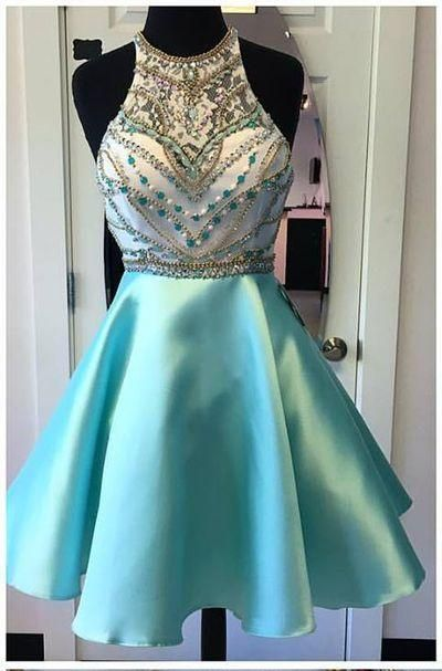 Cute A Line Halter Backless Sparkly Satin Teal Homecoming Dress