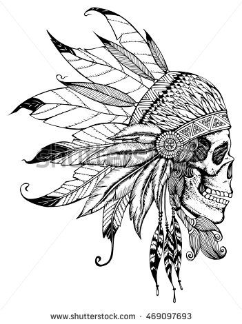 Indian skull with headdress of feathers. The leader of a tribe of Indians…