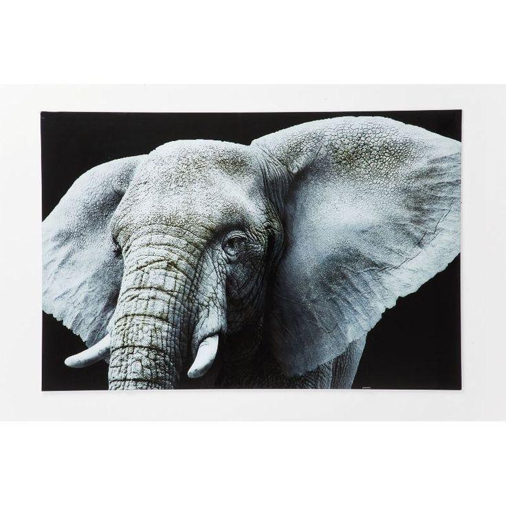 Πίνακας Glass Face Elefant 80x120 Η εντυπωσιακή εικόνα ενός ελέφαντα σε ψηφιακή εκτύπωση σε γυαλί.