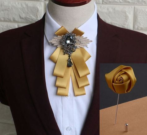2 Items - Set of Wedding Men Pre Tied Gold Bow Tie Rose Boutonniere Brooch Pin #handmade #BowTieAndPin