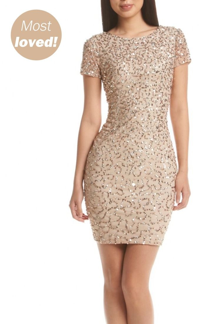 This Adrianna Papell® Sequin Sheath Cocktail Dress is perfect for your bridal party! Available at Bon-Ton.
